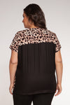 ZIP V NECK LEOPARD TOP