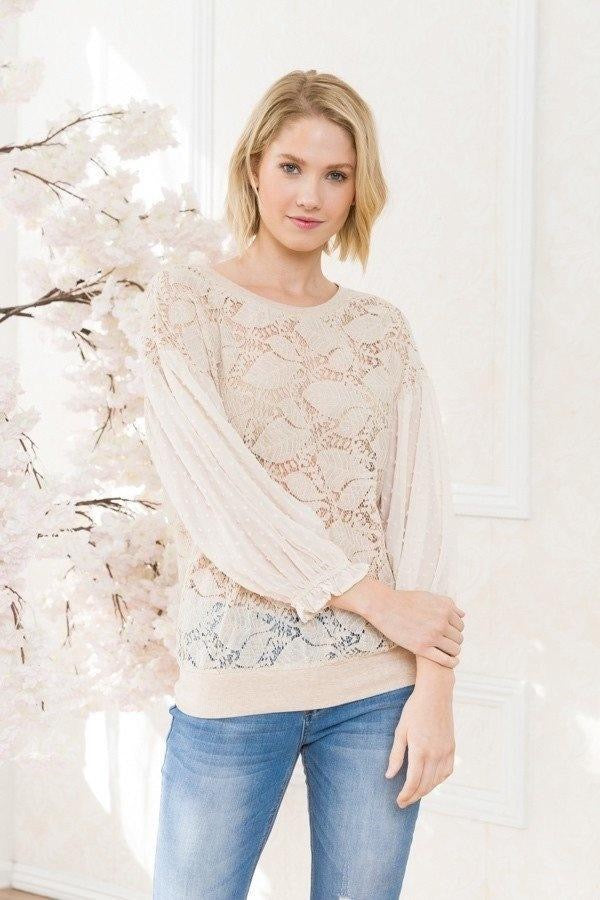 LACE TOP WITH CHIFFON SLEEVE