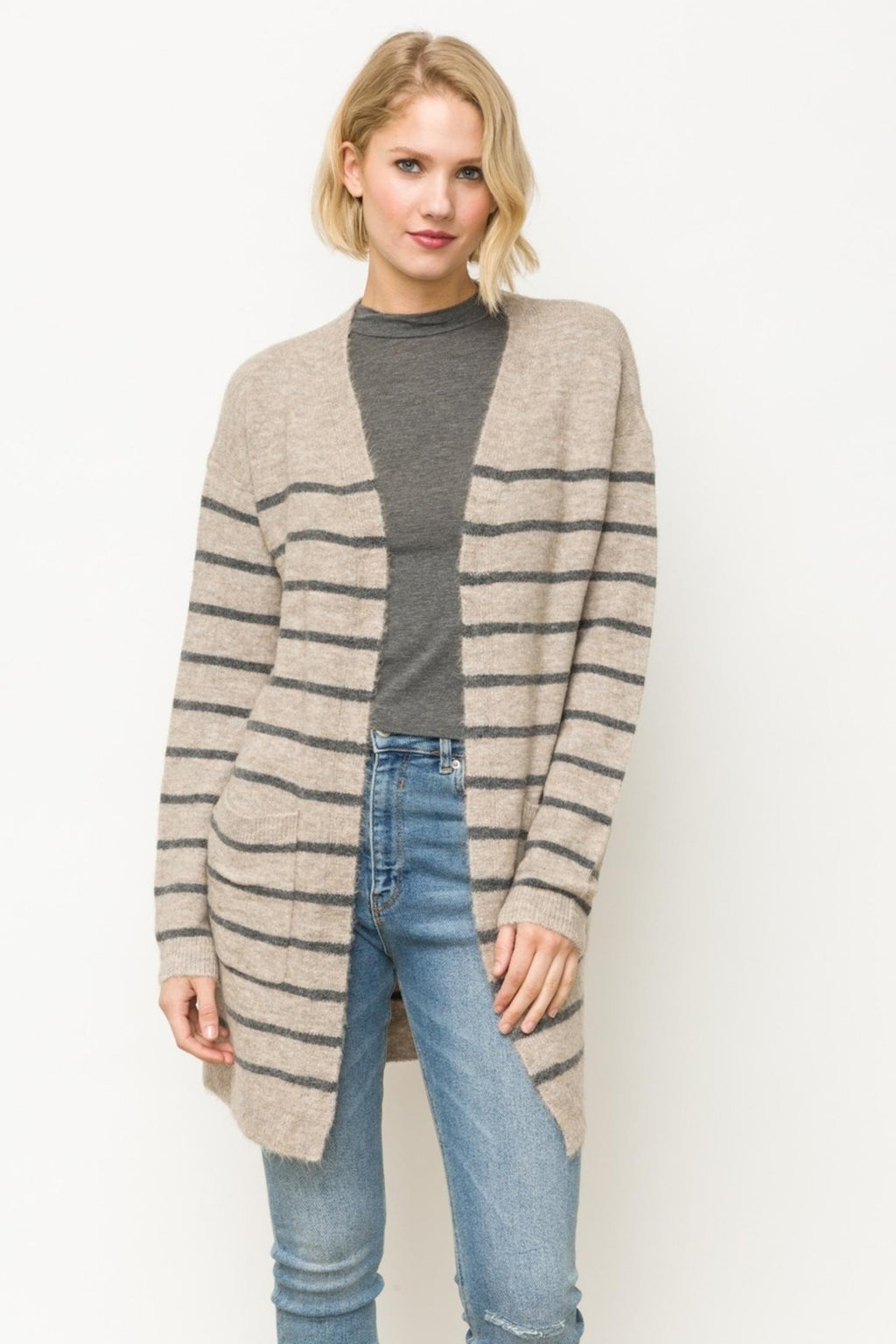 TAUPE/CHARCOAL CARDIGAN