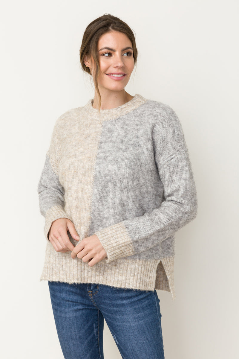 HALF COLOR BLOCK SWEATER