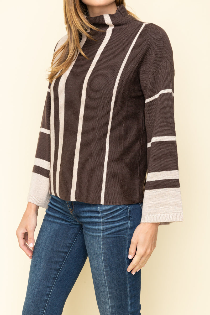 VERTICAL STRIPE BELL SWEATER