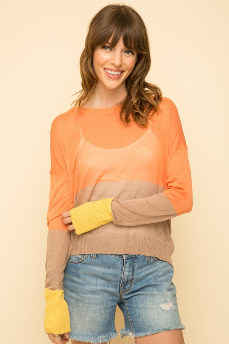ORANGE/TAUPE /YELLOW TOP