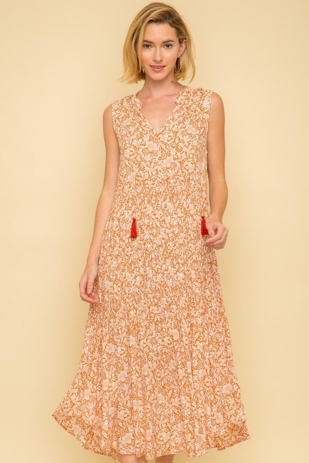 ORANGE PINTUCK DRESS