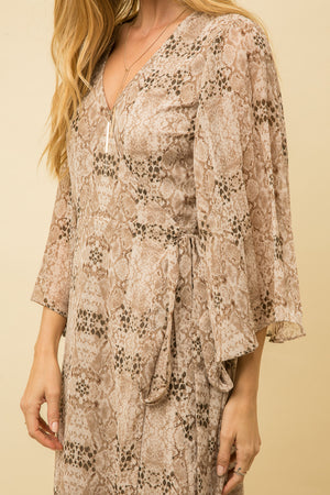 SNAKESKIN WRAP DRESS
