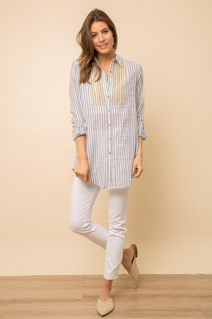 INSET STRIPED TUNIC