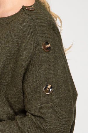 OLIVE BUTTON SWEATER