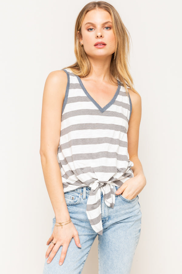 MIXED STRIPE TIE FRONT TANK