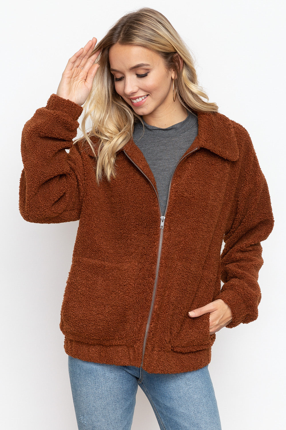 COPPER BROWN CROPPED TEDDY JACKET