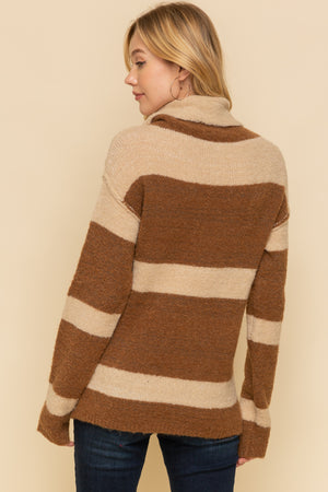 BROWN STRIPE TURTLENECK SWEATER