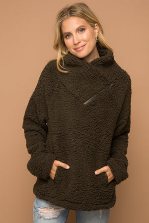 OLIVE FLEECE PULLOVER