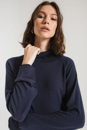 SOFT SPUN MOCK NECK PULLOVER