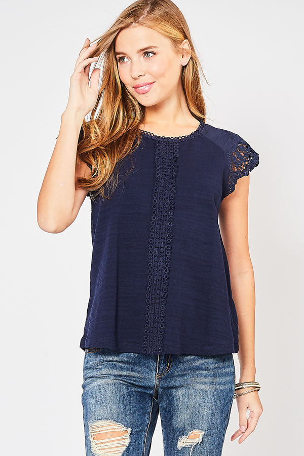NAVY CROCHET CAP SLEEVE TOP