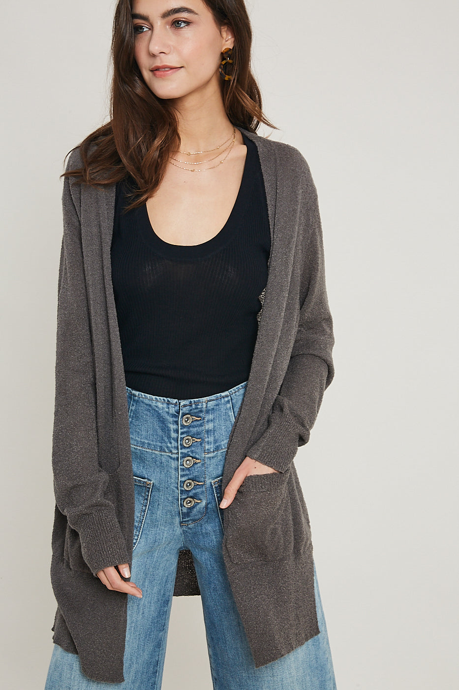 BOUCLE CARDIGAN W/POCKETS CHARCOAL