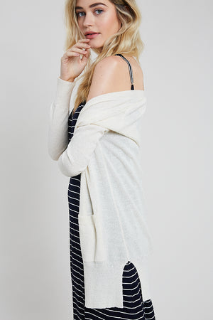 BOUCLE CARDIGAN W/POCKETS CREAM