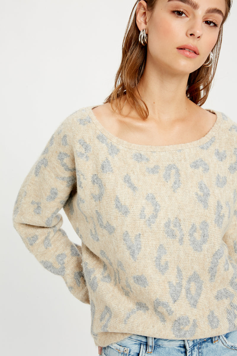 LEOPARD BOATNECK SWEATER