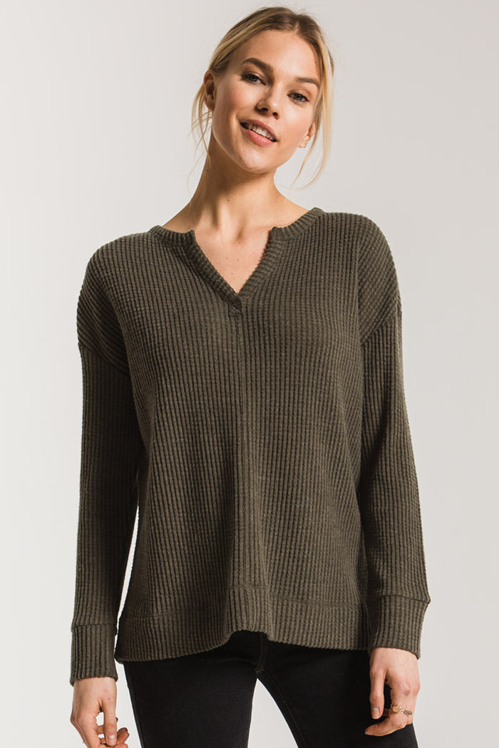 SPLIT NECK WAFFLE THERMAL
