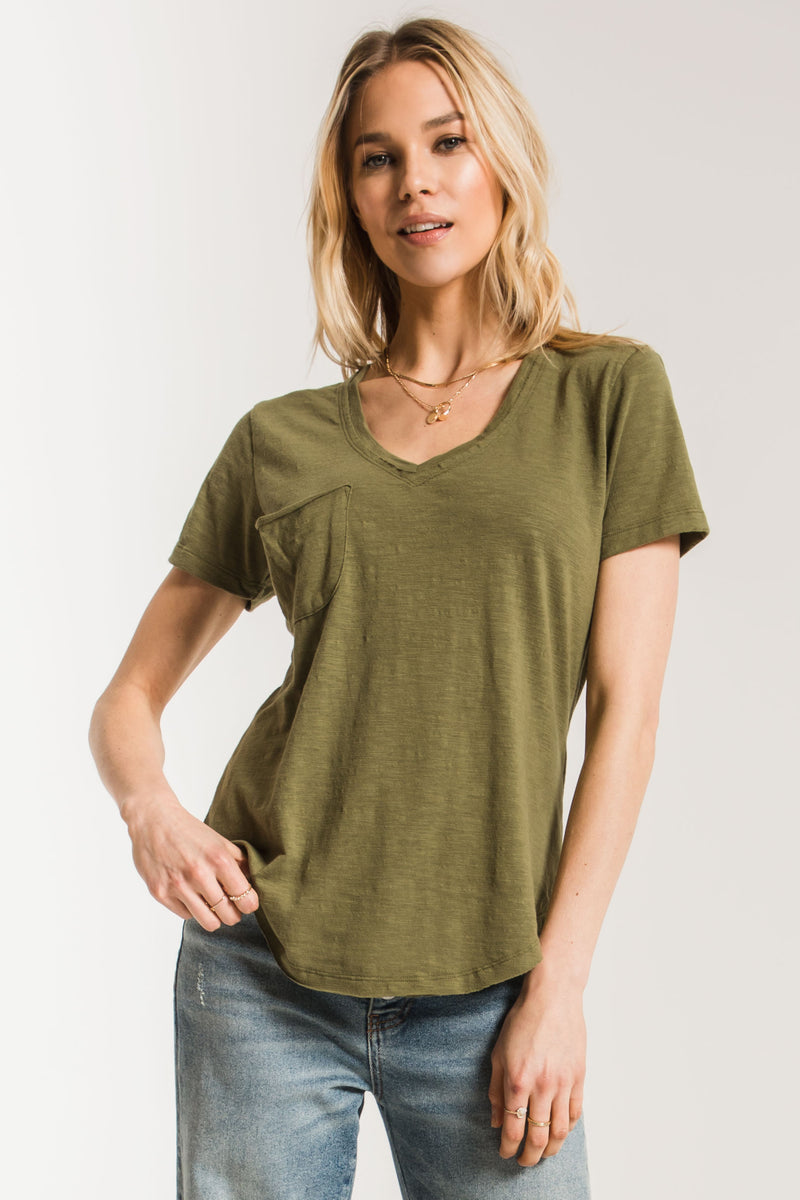 THE AIRY SLUB KNIT POCKET TEE