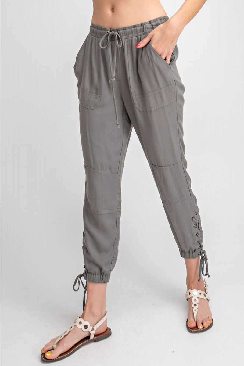 OLIVE GREY LACE UP PANTS