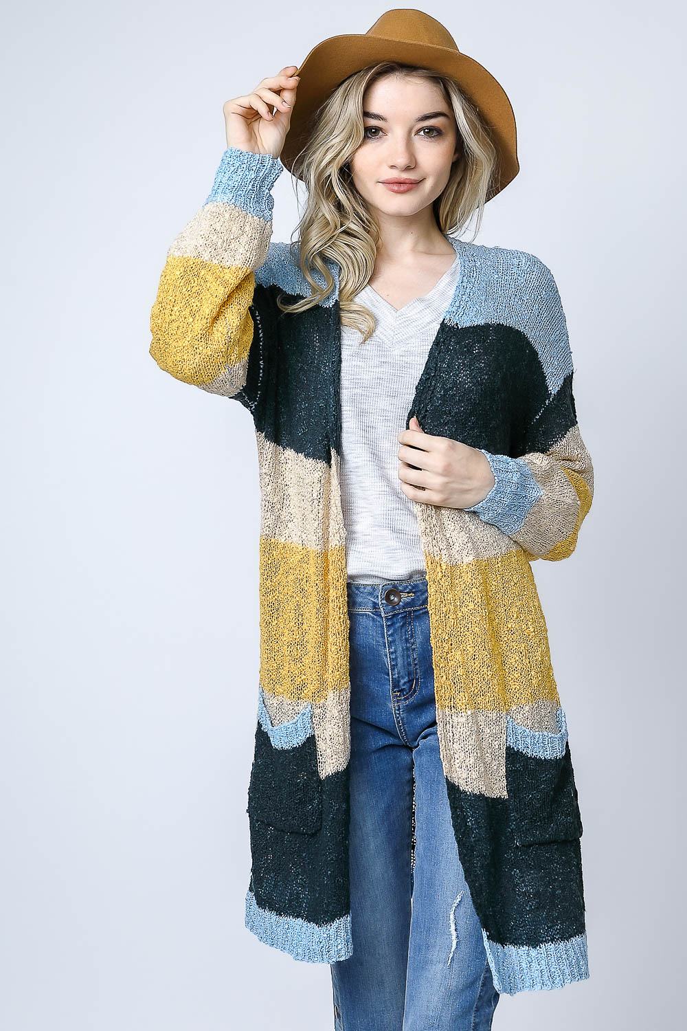 MULTISTRIPE DUSTER CARDIGAN