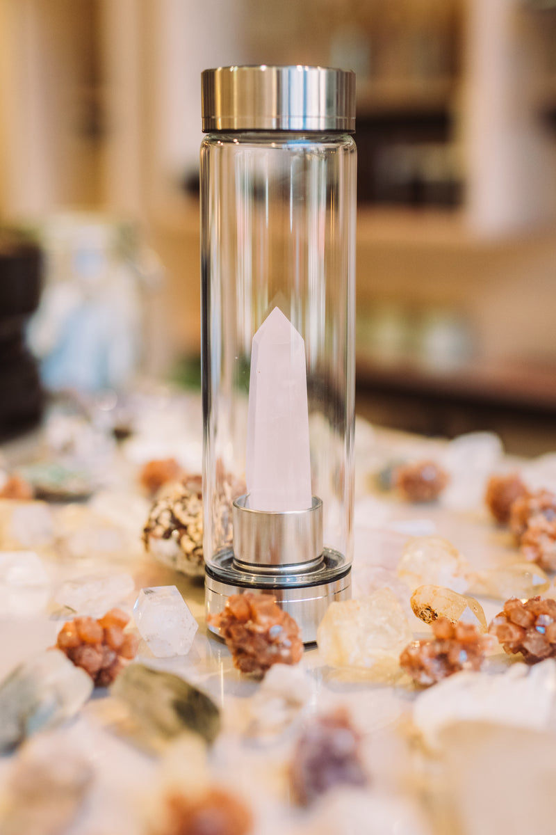 Crystal-Infused Glass Water Bottle
