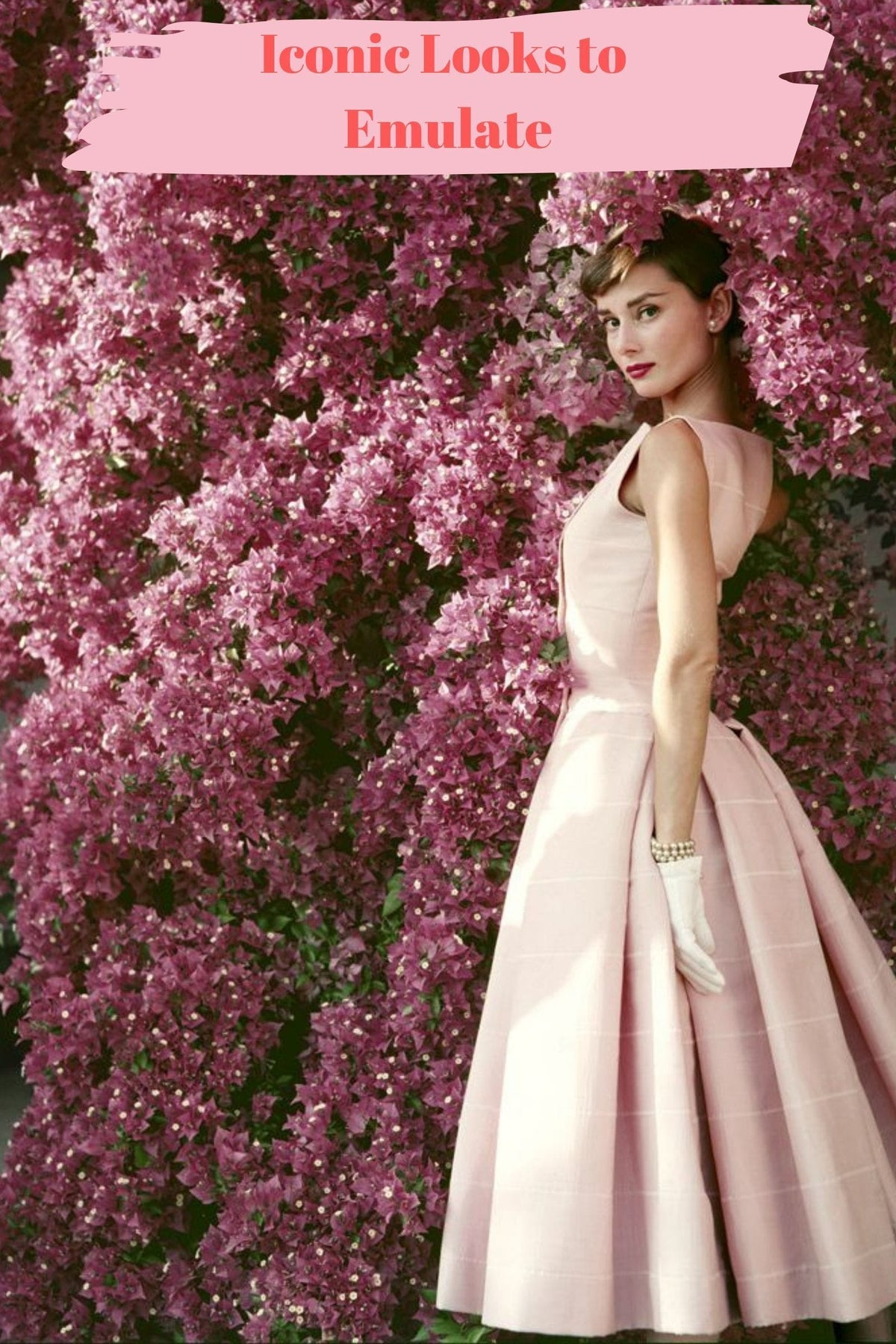 Audrey Hepburn Pink Dior Dress by Flowers
