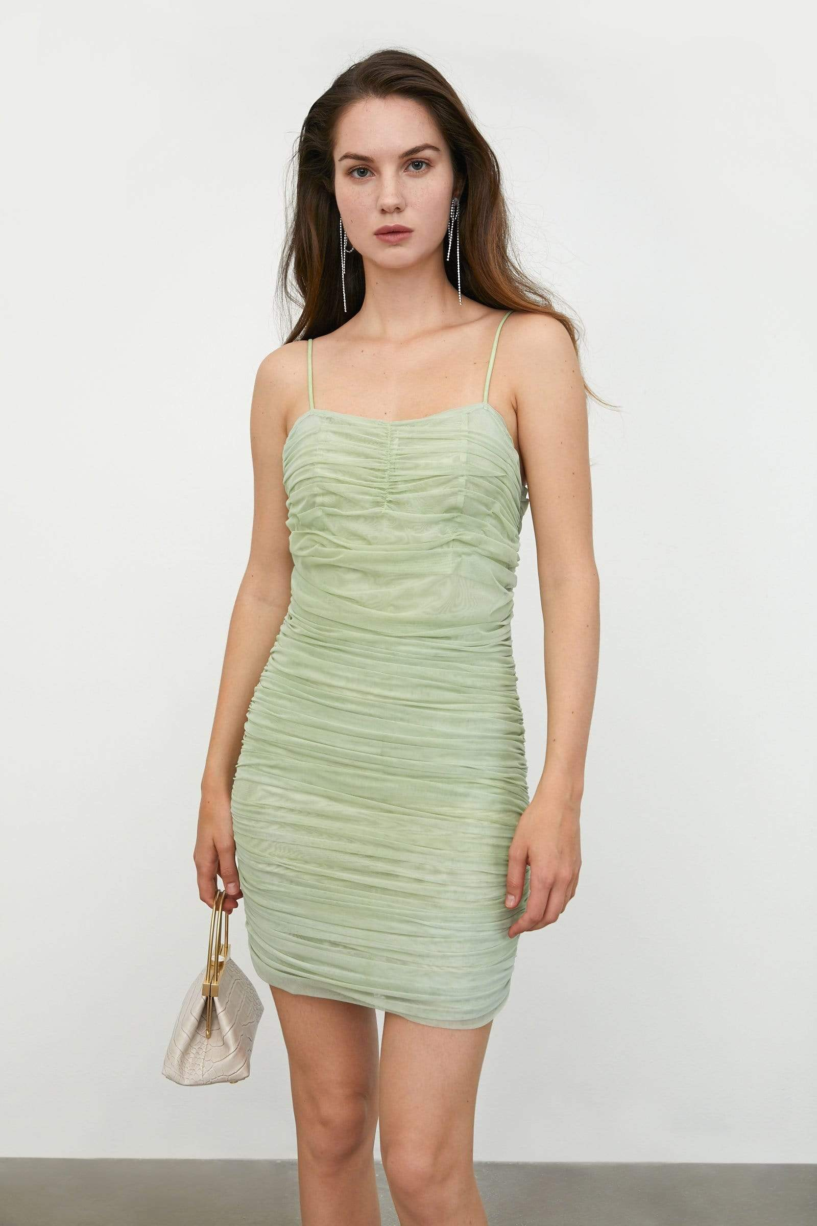 Ruched Pistachio Mini Dress
