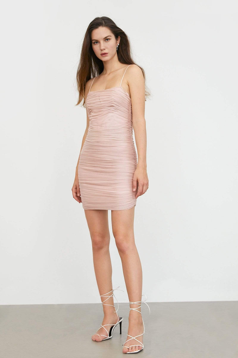 Ruched Blush Mini Dress