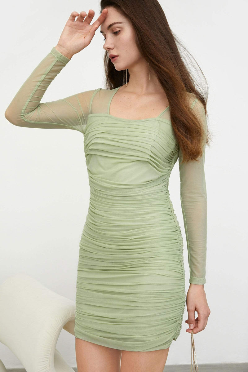 Anastasia Pistachio Ruched Mini Dress