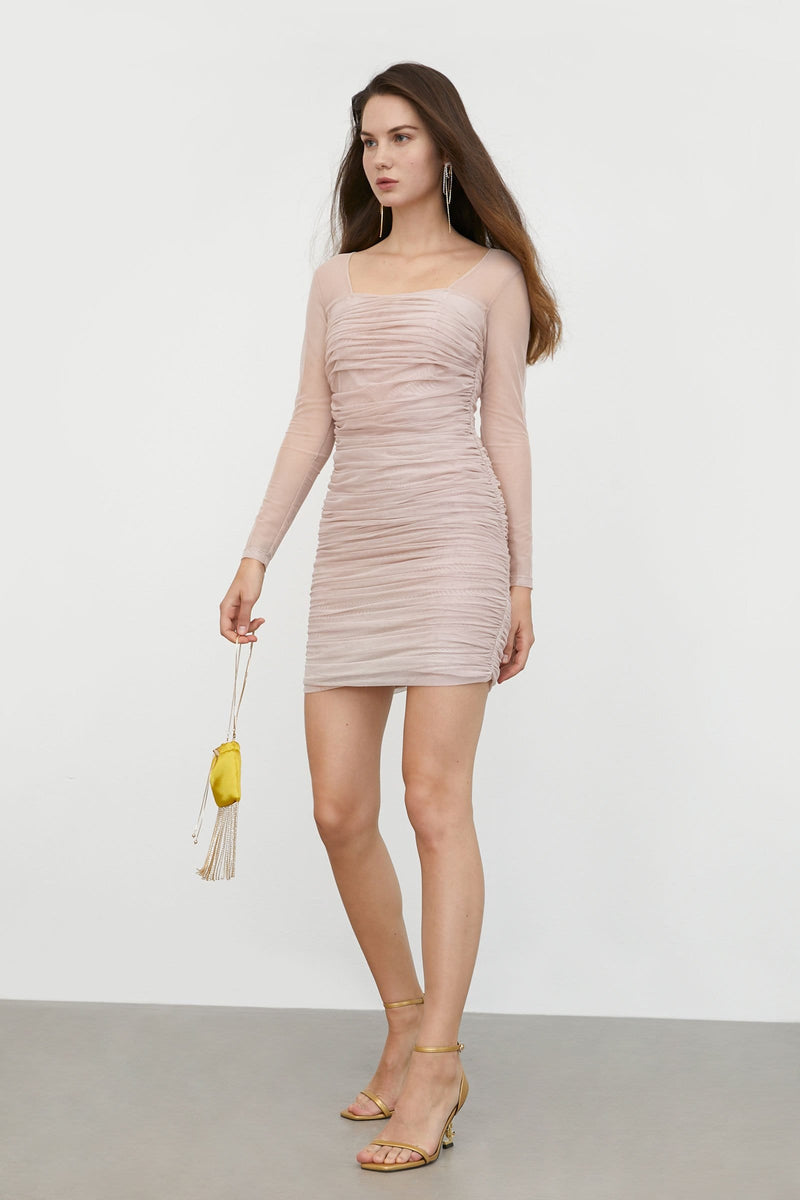 Anastasia Pink Ruched Mini Dress