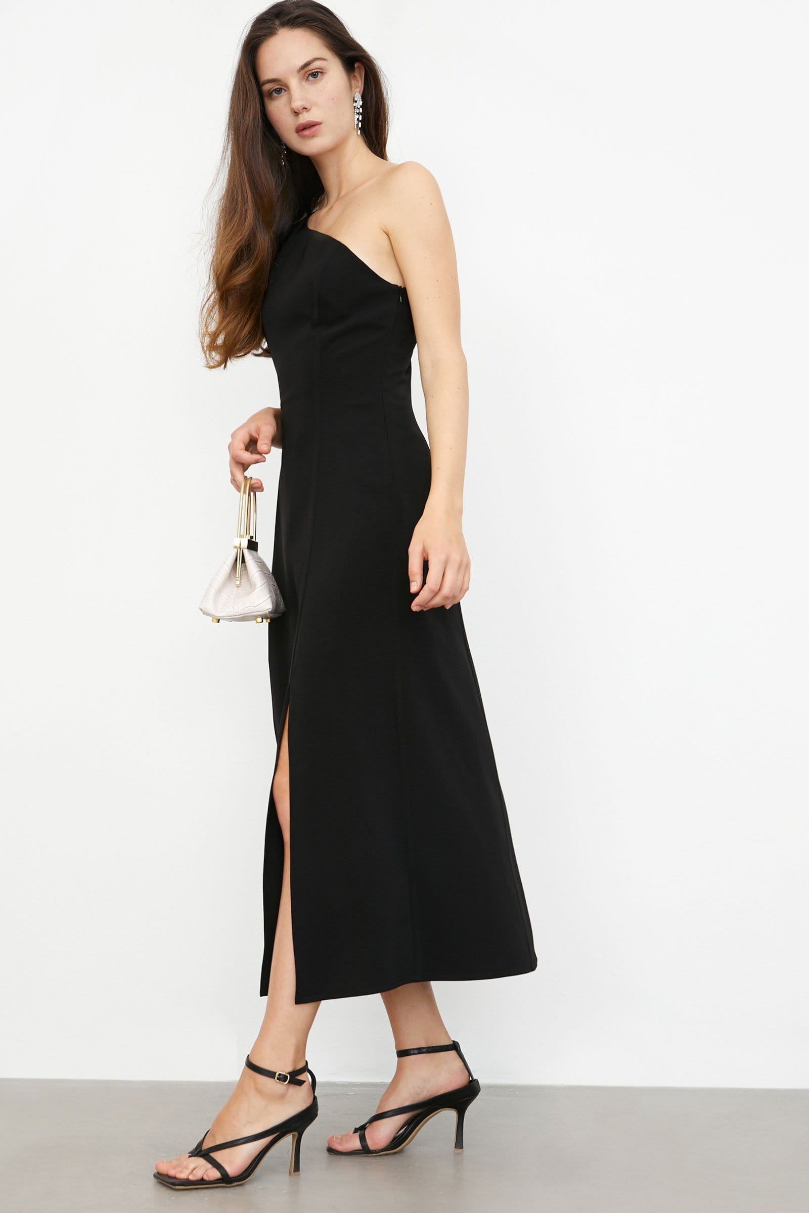 Irma Black One Shoulder Dress