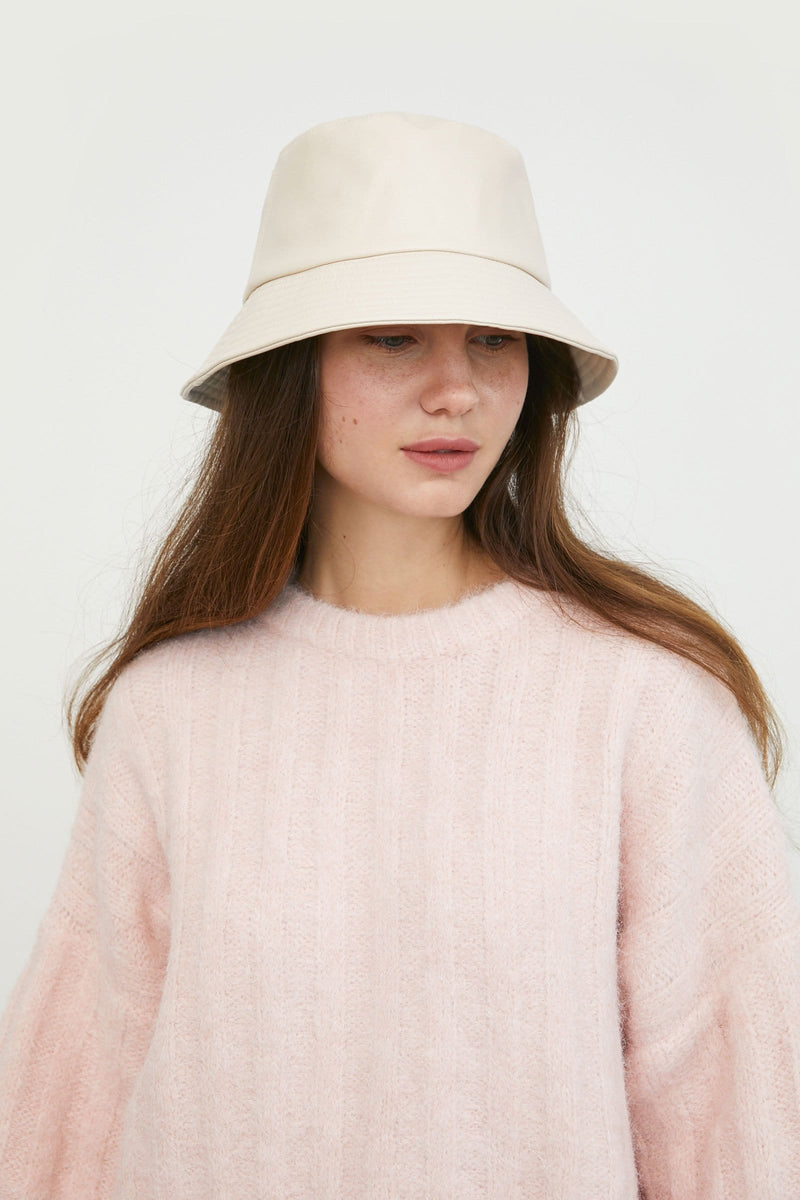 Leather White Bucket Hat