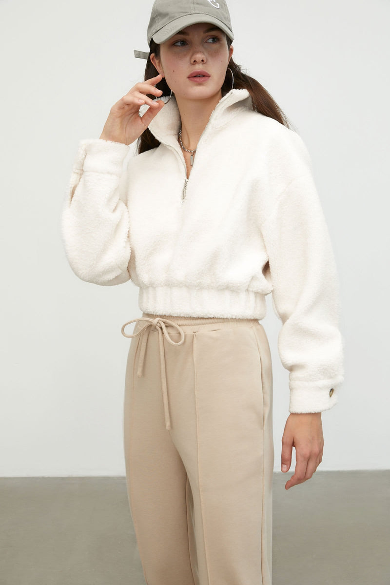 Cozy White Cropped Jacket