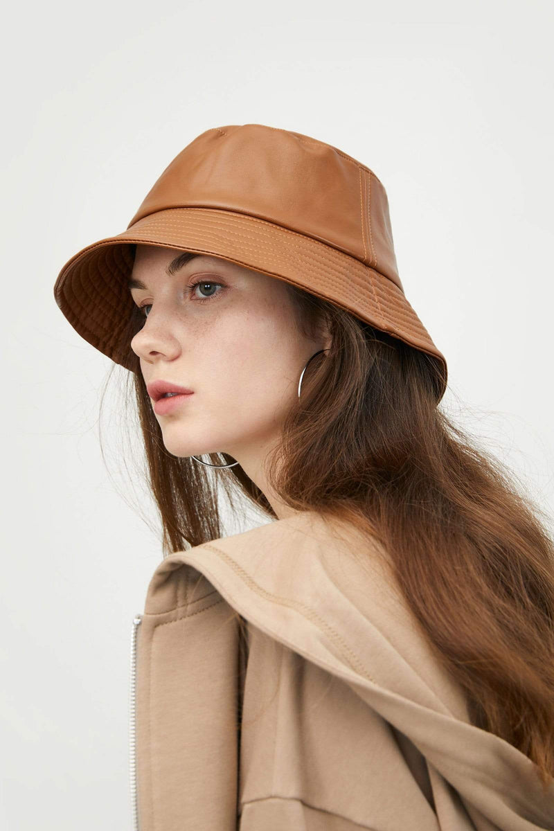 Leather Camel Bucket Hat