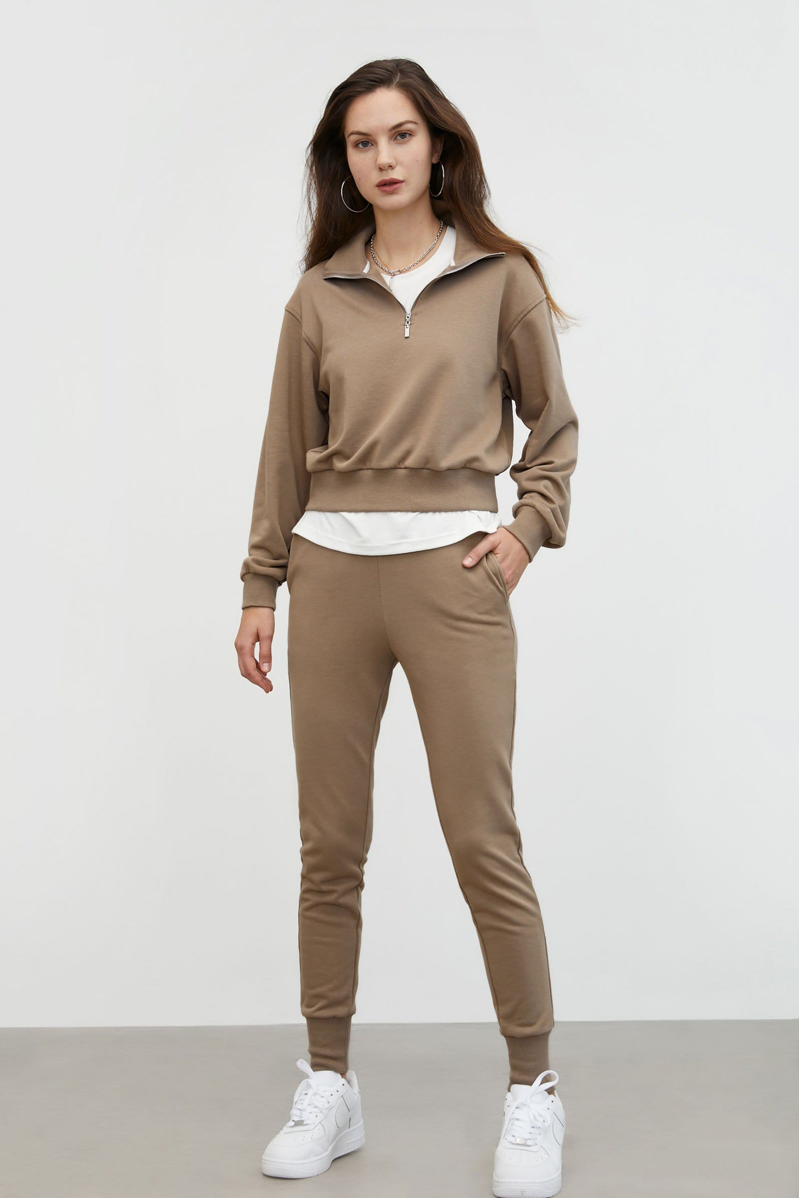 Cozy Tan Cropped Sweatshirt