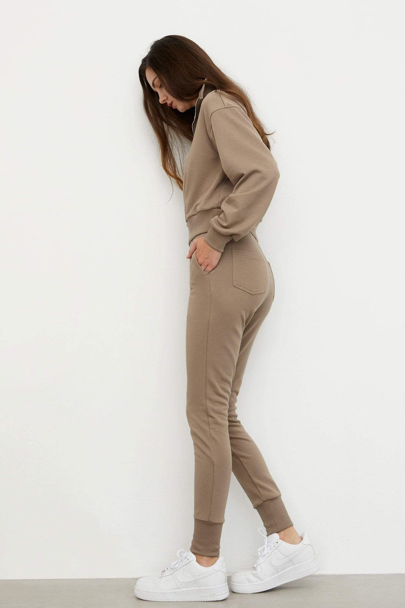 Cozy Tan Slim Sweatpants
