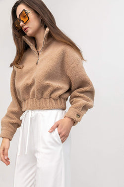 Cozy Tan Cropped Jacket