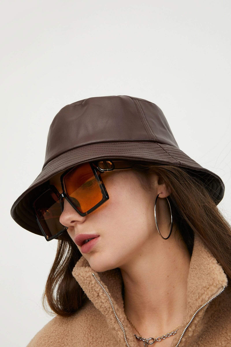 Leather Brown Bucket Hat