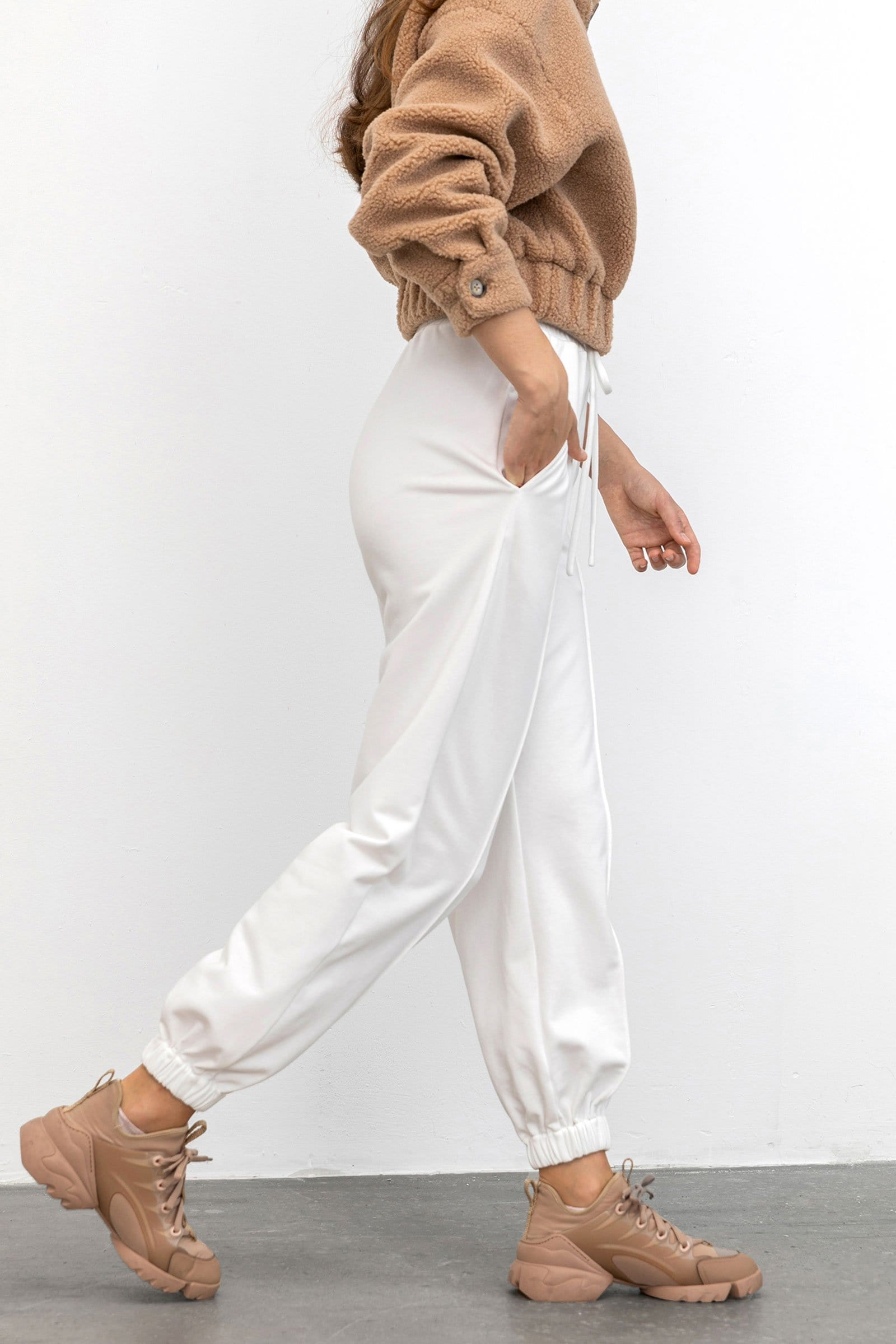 Supersoft White Drawstring Joggers
