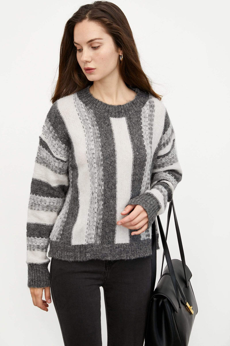 Vanya Grey Striped Sweater
