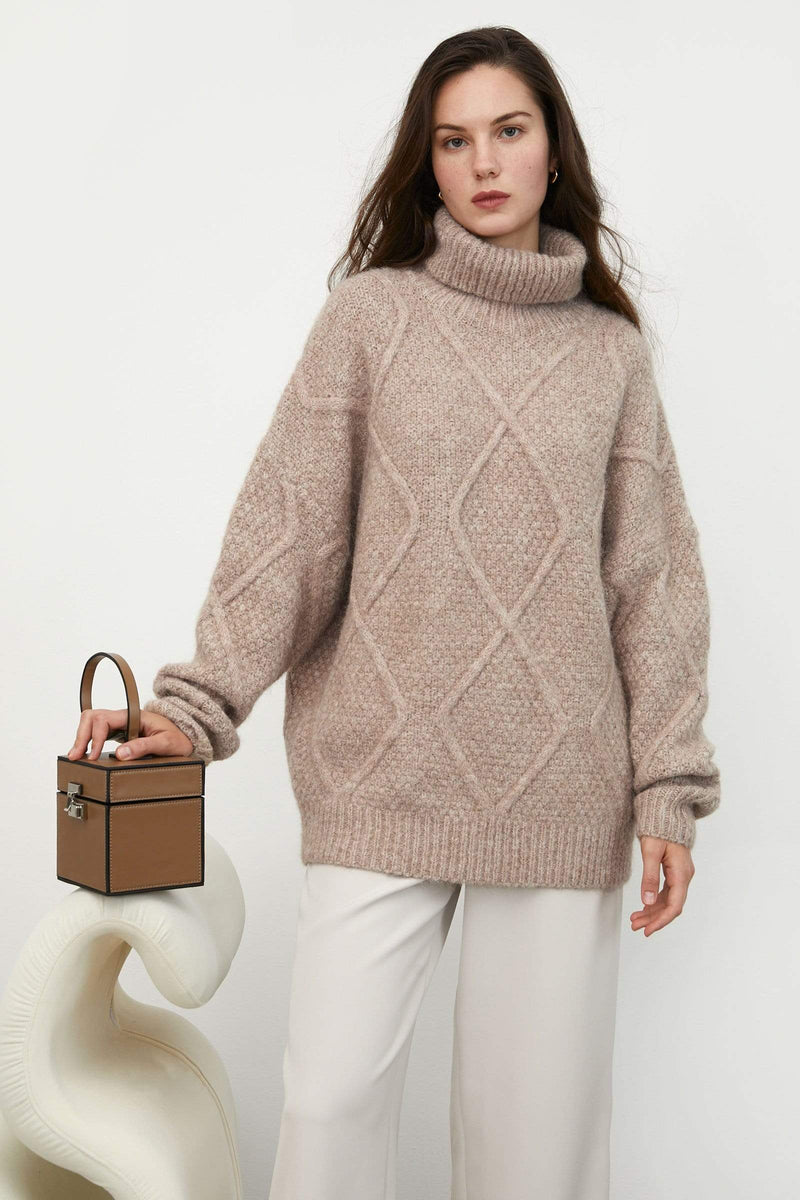 Sabrina Tan Diamond Turtleneck Sweater