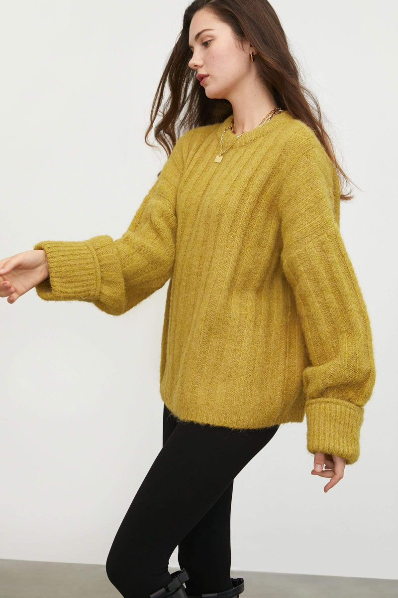 Cozy Mustard Ribbed Sweater