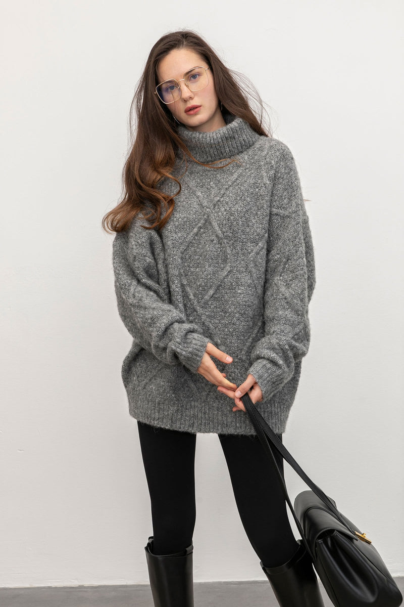 Sabrina Grey Diamond Turtleneck Sweater
