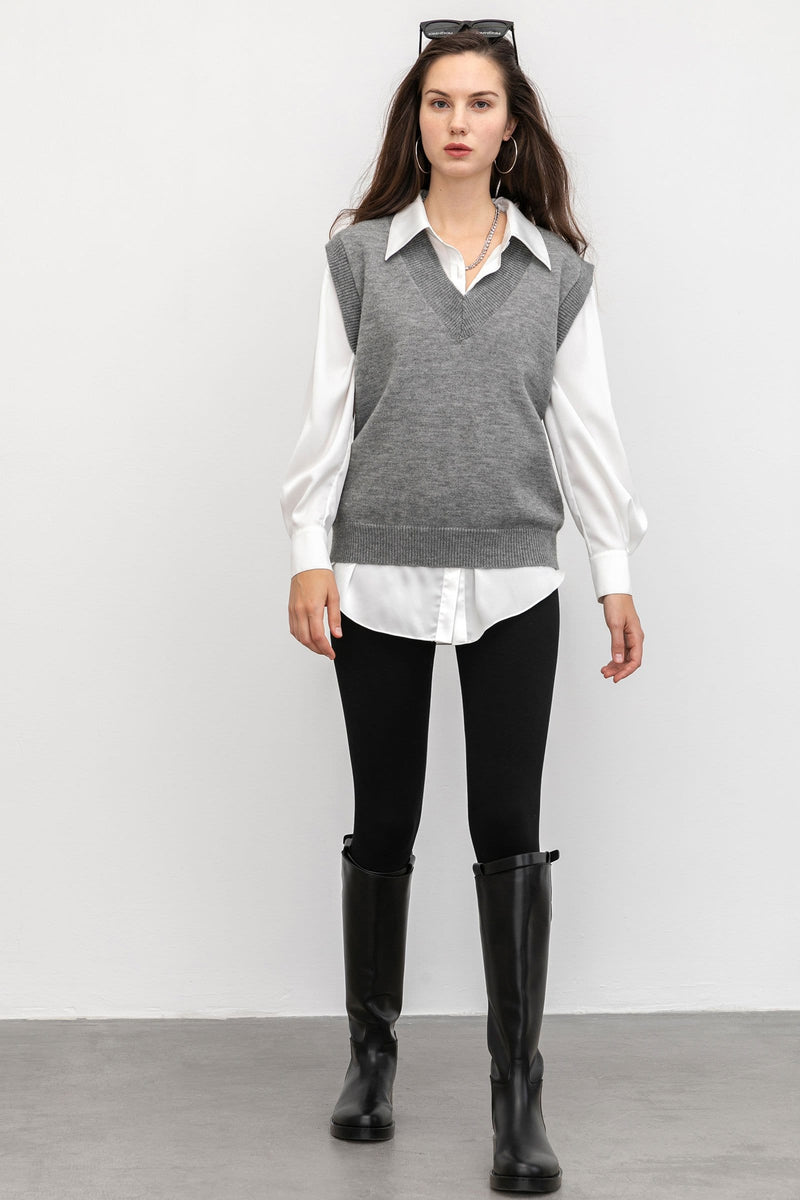 Cozy Charcoal Sweater Vest