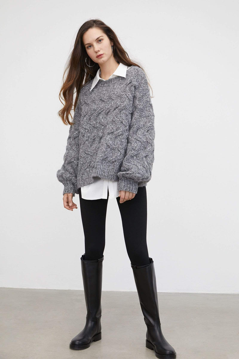 Maeve Charcoal Chunky Sweater