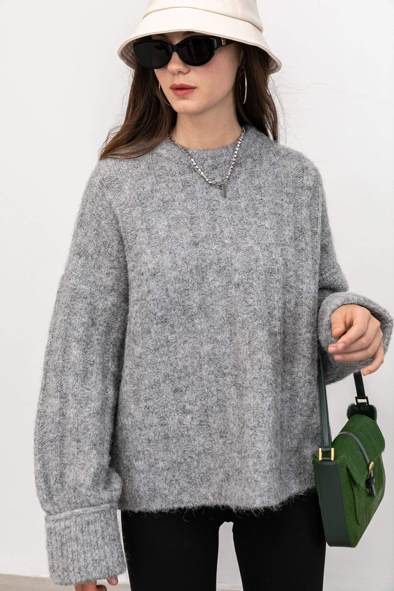 Cozy Grey Ribbed Sweater