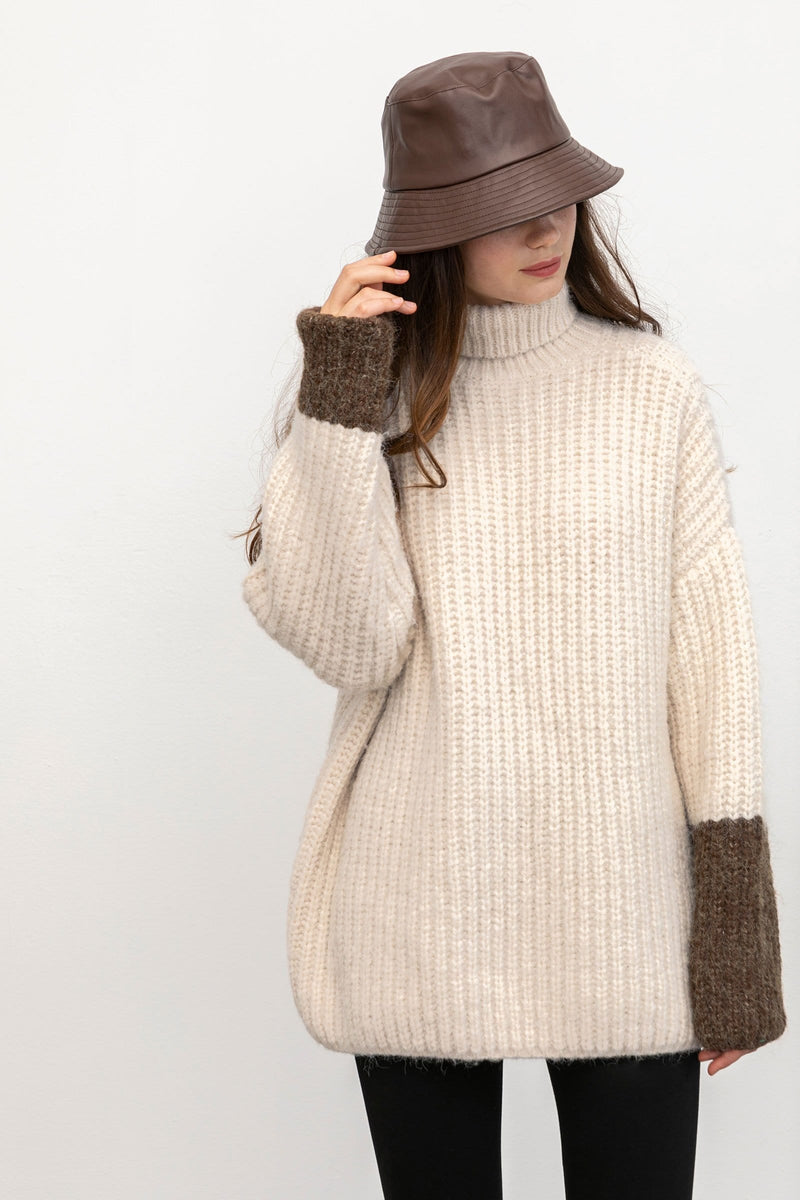 Olivia Beige Turtleneck Sweater