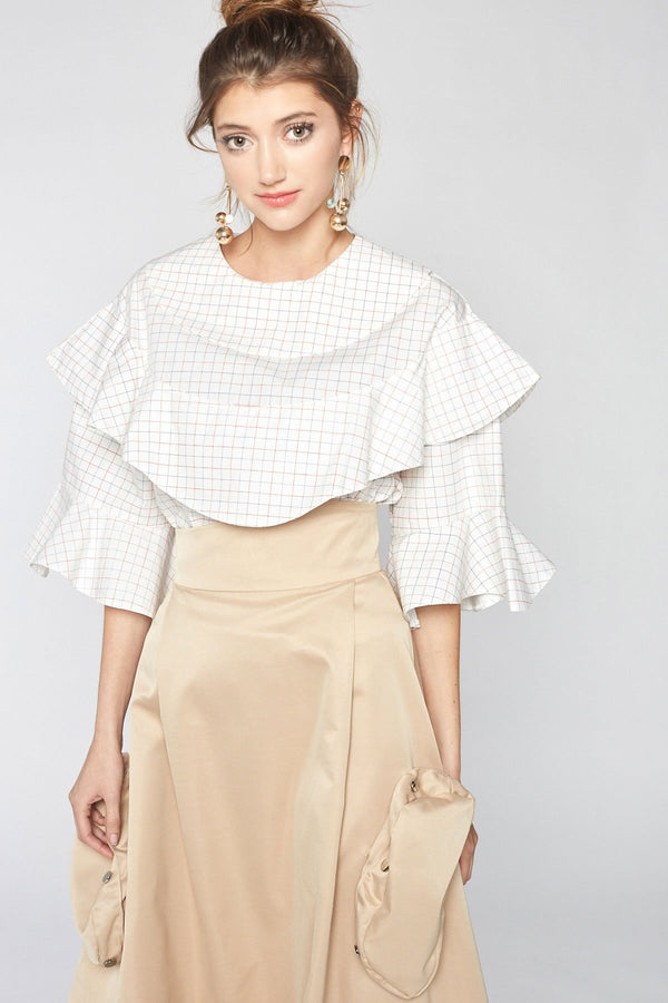 Aurelia Ruffle Cotton Shirt in Tops by J.ING - an L.A based women's fashion line