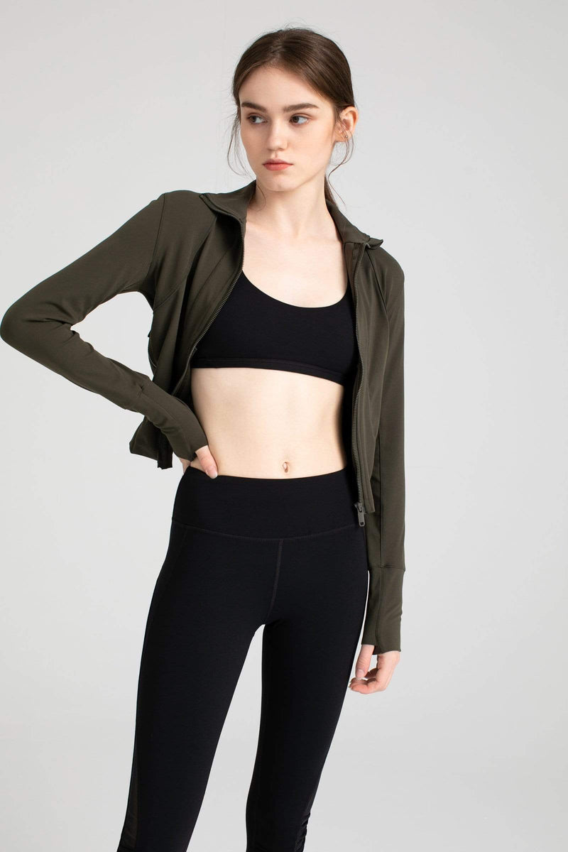 Olive Green Zip-Up Track Jacket