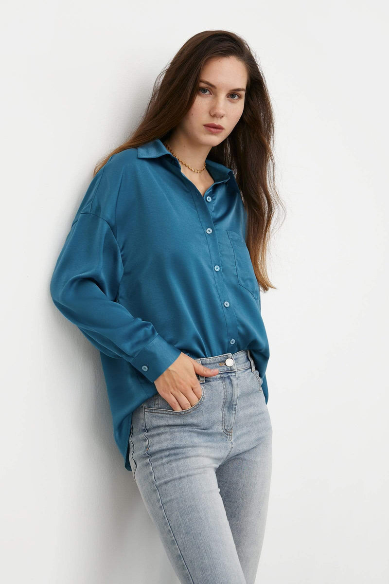 Silky Blue Button-Up Blouse