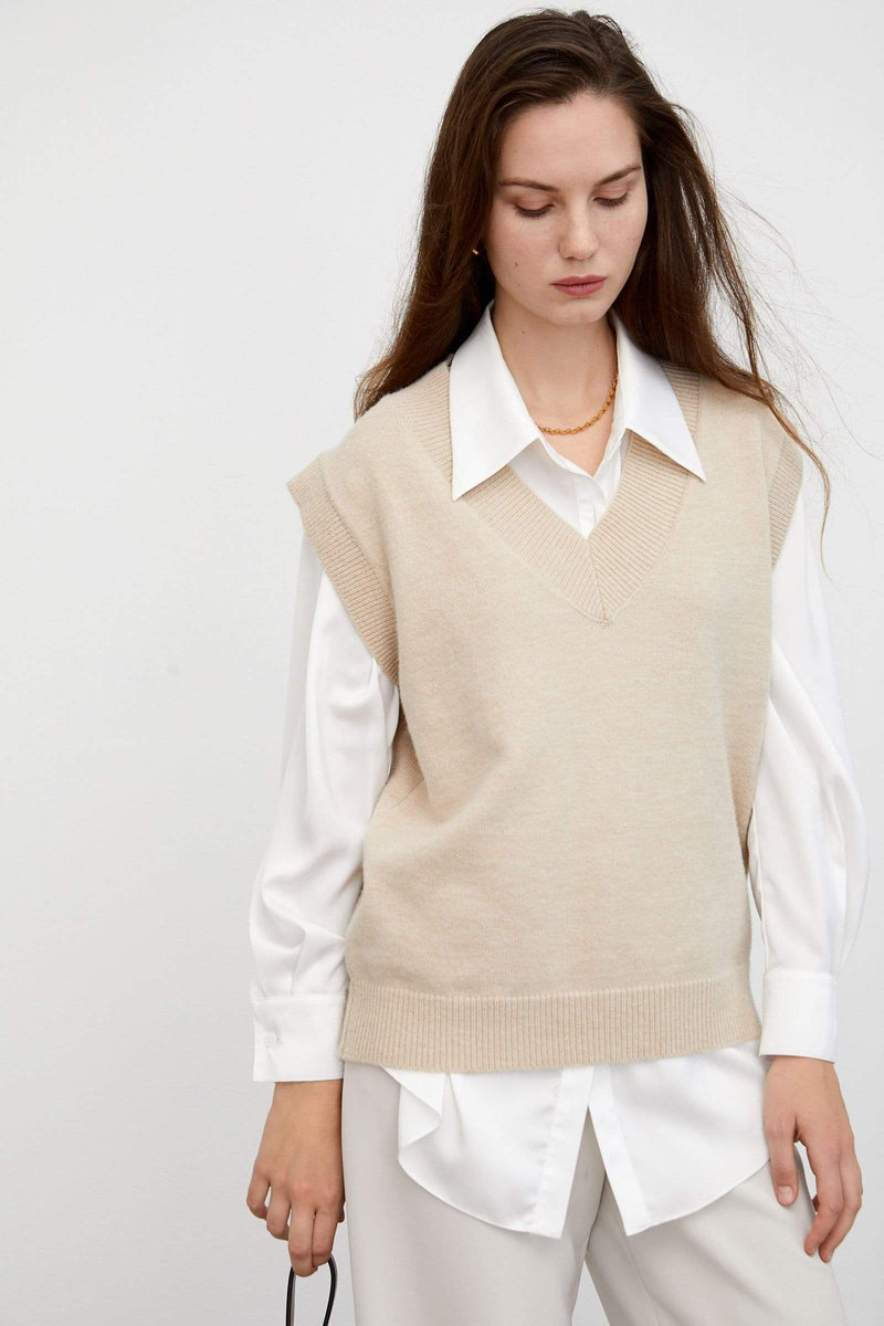 Cozy Beige Sweater Vest